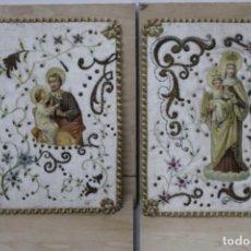 Antigüedades: PAREJA DE ESCAPULARIOS DEL SIGLO XIX. SEDA Y BORDADOS EN HILO DE ORO , IMÁGENES CON TROQUELADO. Lote 157813130