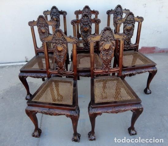 9 SILLAS CHIPENDAL EN MADERA DE CAOBA (Antigüedades - Muebles Antiguos - Sillas Antiguas)