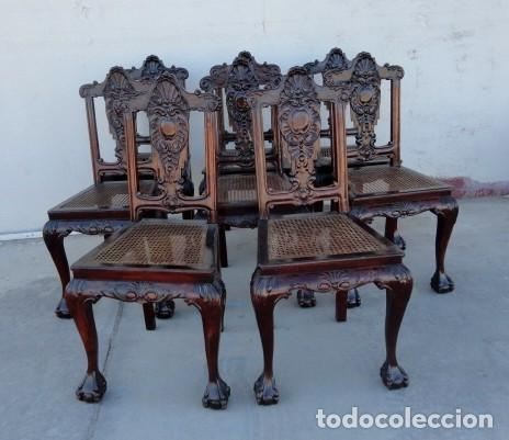 Antigüedades: 9 sillas Chipendal en madera de caoba - Foto 2 - 157842134