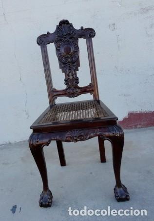 Antigüedades: 9 sillas Chipendal en madera de caoba - Foto 3 - 157842134