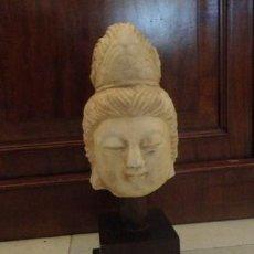 Antigüedades: CABEZA ANTIGUA DE BUDA SXIX EN MARMOL BLANCO. Lote 157846946