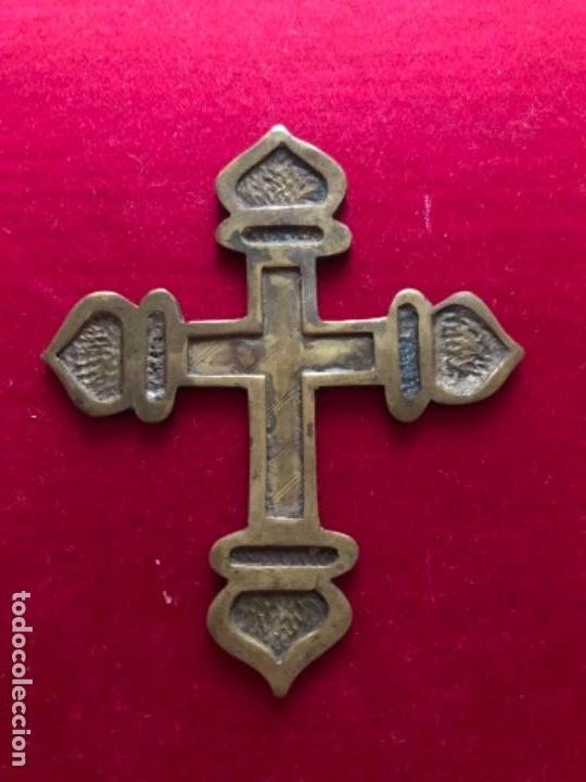 ANTIGUA CRUZ REALIZADA EN BRONCE IDEAL IMAGEN RELIGIOSA CAP I POTA O CAPILLA. (Antigüedades - Religiosas - Cruces Antiguas)