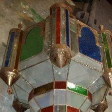 Antigüedades: ENORME LAMPARA MORISCA, ARABE, METAL Y CRISTALES, GIGANTE 2 METROS, POSIBLE CAMBIO. Lote 157872382