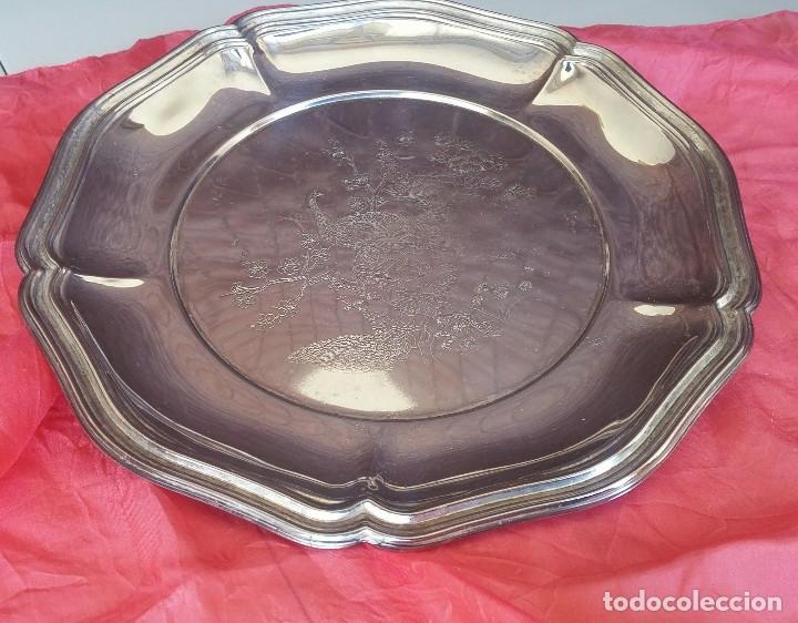 Antigüedades: Antiguo plato grabado metal plateado - Foto 2 - 157875158
