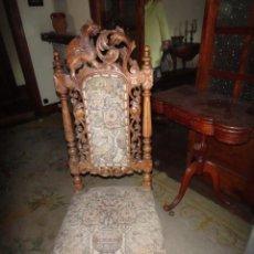 Antigüedades: 4 SILLAS MADERA NOGAL CASTELLANA TALLADAS. Lote 157901806