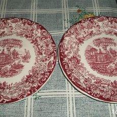 Antigüedades: 2 PLATOS DE PICKMAN CARTUJA SEVILLA SERIE PAISAJES ROJA MIDEN 18 CM DE DIAMETRO. Lote 157910066