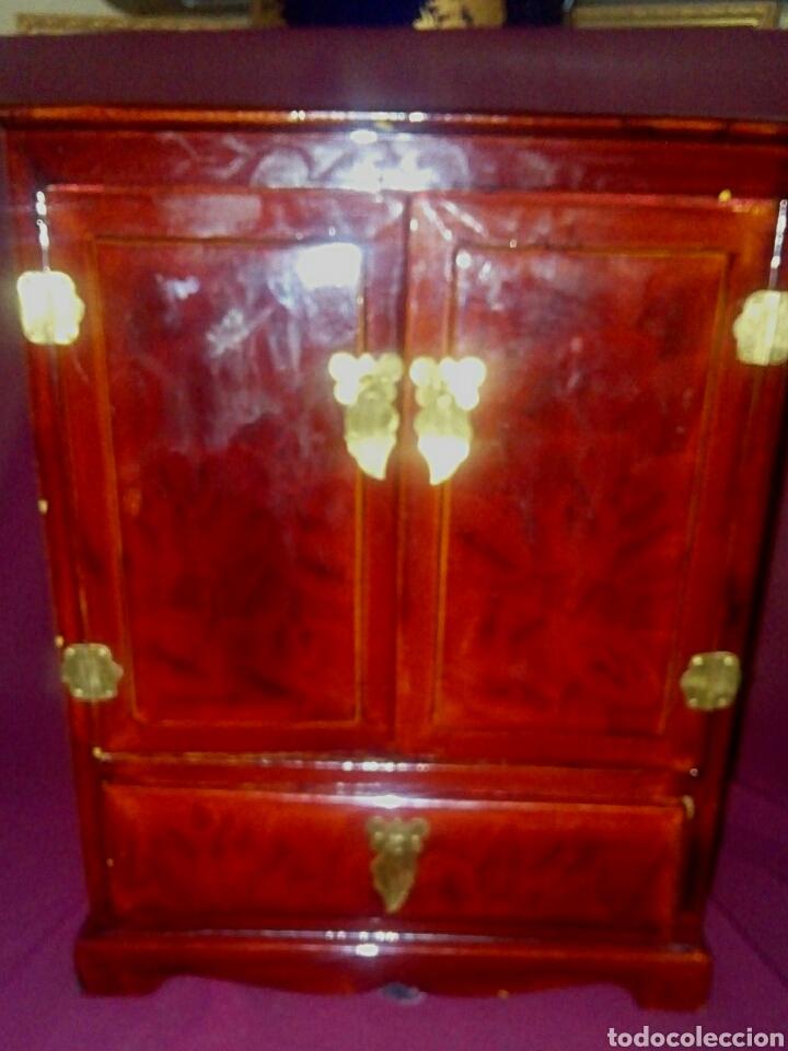 Antigüedades: Joyero. Caja china de madera lacada. - Foto 4 - 153946570