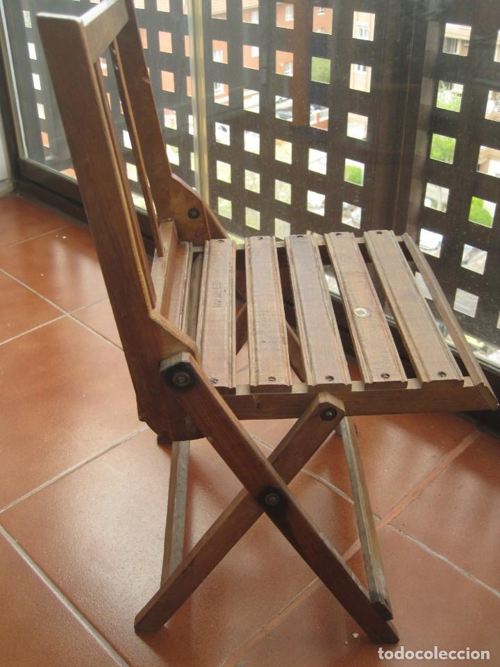 Antigüedades: antigua silla de niño plegable en madera - Foto 3 - 157940394