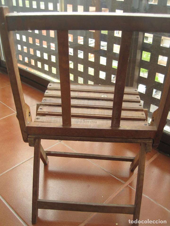Antigüedades: antigua silla de niño plegable en madera - Foto 4 - 157940394