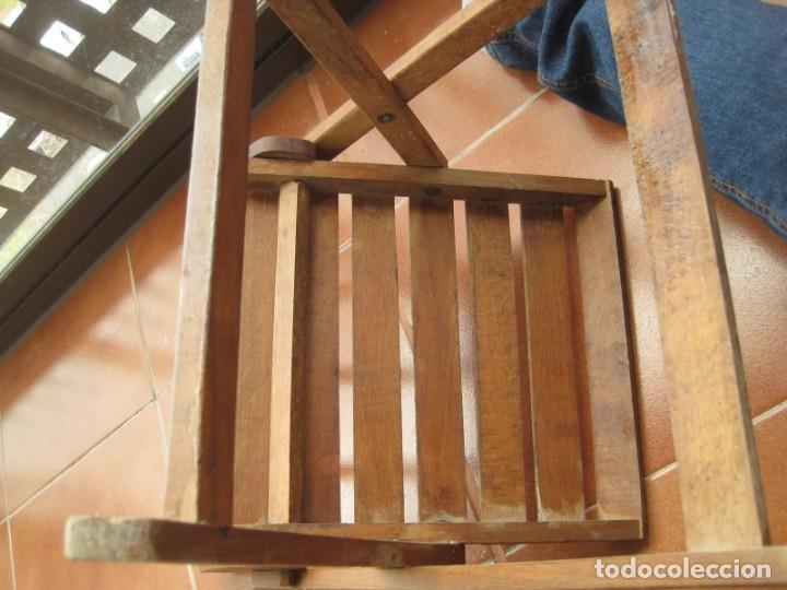 Antigüedades: antigua silla de niño plegable en madera - Foto 5 - 157940394