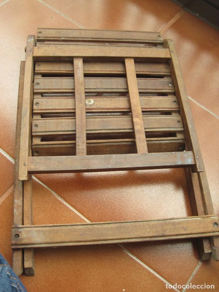 Antigüedades: antigua silla de niño plegable en madera - Foto 6 - 157940394