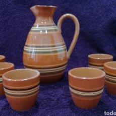 Antigüedades: JUEGO ESMALTADO DE JARRA Y SEIS VASOS. Lote 157949060