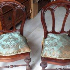 Antigüedades: PAREJA DE SILLAS DE CAOBA DE CUBA Y REJILLA MINIS - LLAMADAS DE COSTURA. Lote 157960218