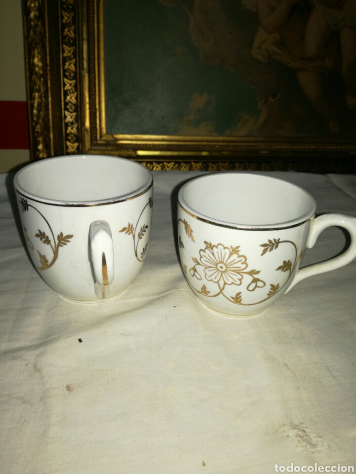 Antigüedades: Pareja de tazas de porcelana - Foto 3 - 157966690