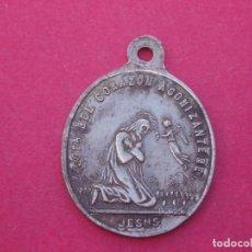 Antigüedades: MEDALLA SIGLO XIX COFRADÍA CORAZÓN AGONIZANTE DE JESÚS Y COMPASIVO DE LA SANTÍSIMA VIRGEN.. Lote 157970694