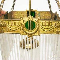 Antigüedades: MARAVILLOSA GRAN LAMPARA VIP ANTIGUA BRONCE AL ORO MODERNISTA CIRCA 1900 DOCTOR SERRA. Lote 55223468