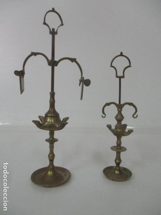 PAREJA DE PEQUEÑAS LAMPARAS DE ACEITE - LÁMPARA DE ACEITE, CANDIL, VELÓN - BRONCE - DE COLECCIÓN!!! (Antigüedades - Iluminación - Lámparas Antiguas)