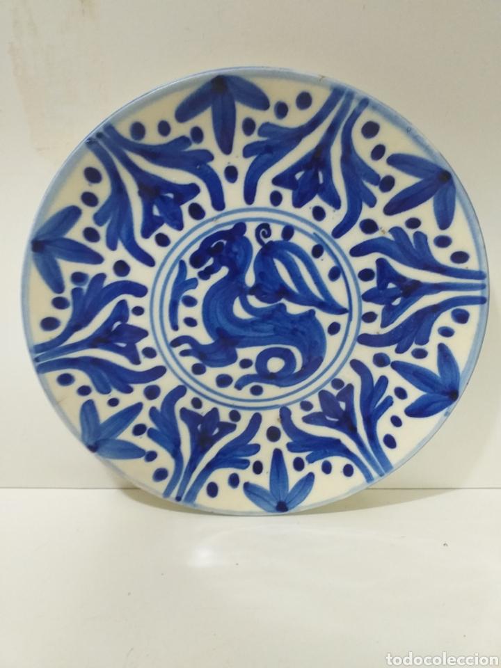 BONITO Y ANTIGUO PLATO DE CERAMICA HECHO Y PINTADO A MANO, CERAMICA DE FAJALAUZA. (Antigüedades - Porcelanas y Cerámicas - Fajalauza)