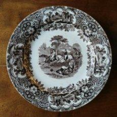 Antigüedades: PLATO PICKMAN CARTUJA MARRON CABALLOS AL GALOPE. Lote 157885236