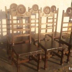Antigüedades: CONJUNTO DE 6 SILLAS ANTIGUAS CON CUERO. Lote 158123178