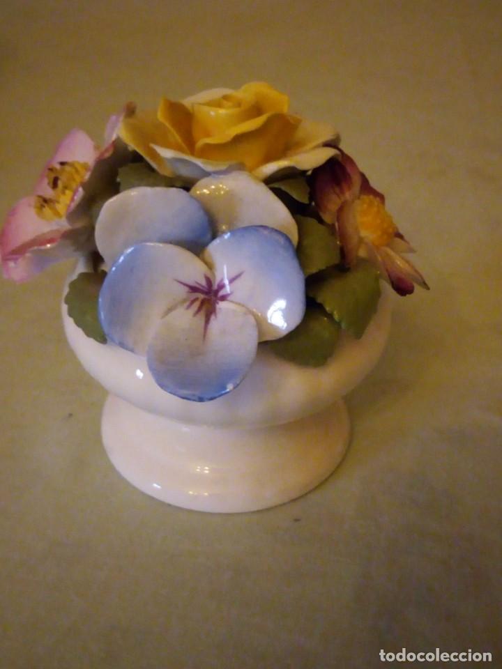Antigüedades: Preciosa copa con flores de porcelana,staffordshire royale,abbydean england. - Foto 3 - 158184994