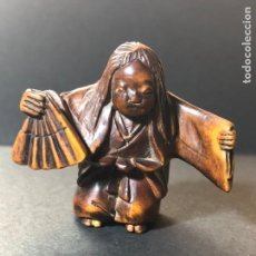 Antigüedades: ANTIGO NETSUKE DE MADERA DE SIGLO XIX. JOVEN . Lote 158225042