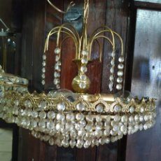 Antigüedades: LAMPARAS DE BRONCE, CRISTAL TALLADO. Lote 158279718