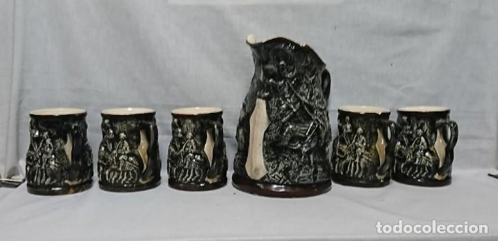 JARRA Y COPAS DE PORCELANA, DON QUIJOTE DE LA MANCHA Y SANCHO PANZA (Antigüedades - Porcelanas y Cerámicas - Otras)