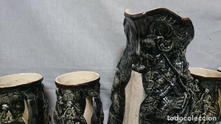 Antigüedades: JARRA Y COPAS DE PORCELANA, DON QUIJOTE DE LA MANCHA Y SANCHO PANZA - Foto 2 - 158307422