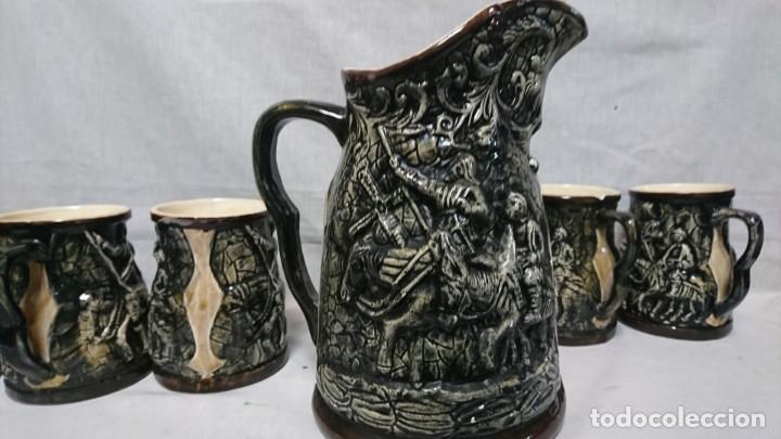 Antigüedades: JARRA Y COPAS DE PORCELANA, DON QUIJOTE DE LA MANCHA Y SANCHO PANZA - Foto 7 - 158307422