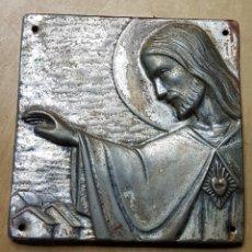 Antigüedades: ANTIGUA PLACA PARA PUERTA SAGRADO CORAZON. Lote 158331424