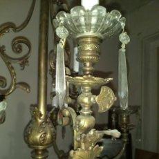 Antigüedades: ANTIGUA LÁMPARA DE TECHO DE GAS, ELECTRIFICADA. BRONCE CON TULIPAS Y LÁGRIMAS DE CRISTAL, 9 LUCES. Lote 158346490