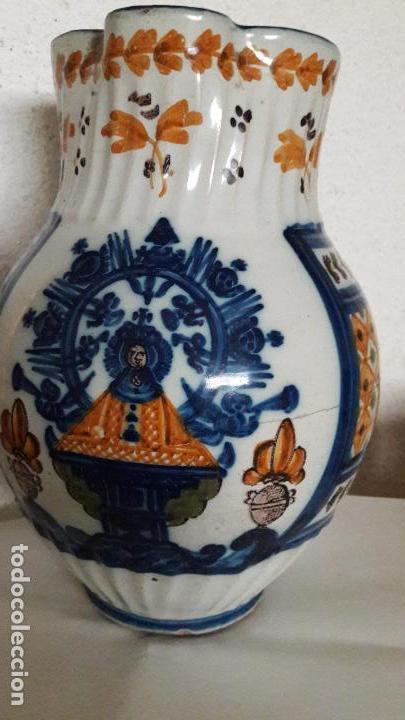 Antigüedades: Jarra ceramica Talavera Virgen del Prado S XIX - Foto 2 - 158380254