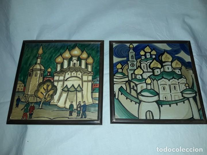 MAGNIFICO ANTIGUO PAR DE AZULEJOS PINTADOS A MANO CON MOLDURA DE BRONCE RUSIA (Antigüedades - Porcelanas y Cerámicas - Azulejos)