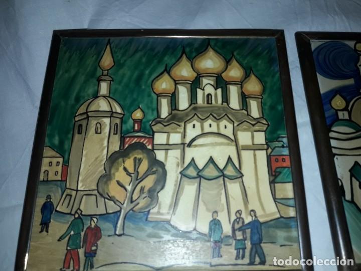 Antigüedades: Magnifico antiguo par de azulejos pintados a mano con moldura de bronce Rusia - Foto 2 - 158381106