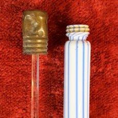 Antiquités: PERFUMERO EN CRISTAL SOPLADO. TAPON DE LATÓN. ESPAÑA. PRINCIPIOS DEL S.XX.. Lote 158405958
