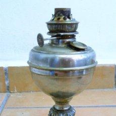 Antigüedades: ANTIGUO QUINQUÉ BRONCE - LATÓN - BASE LABRADA. Lote 158406450