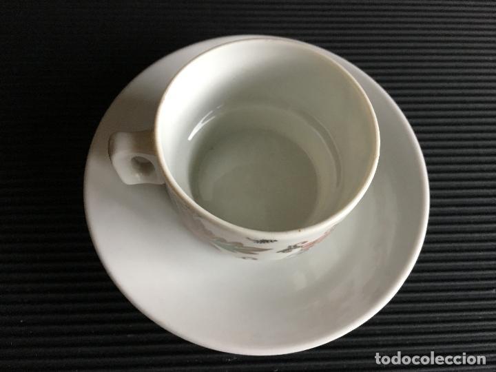 Antigüedades: PRECIOSO PLATO Y TAZA DE CAFÉ DE PORCELANA, - Foto 2 - 158412602