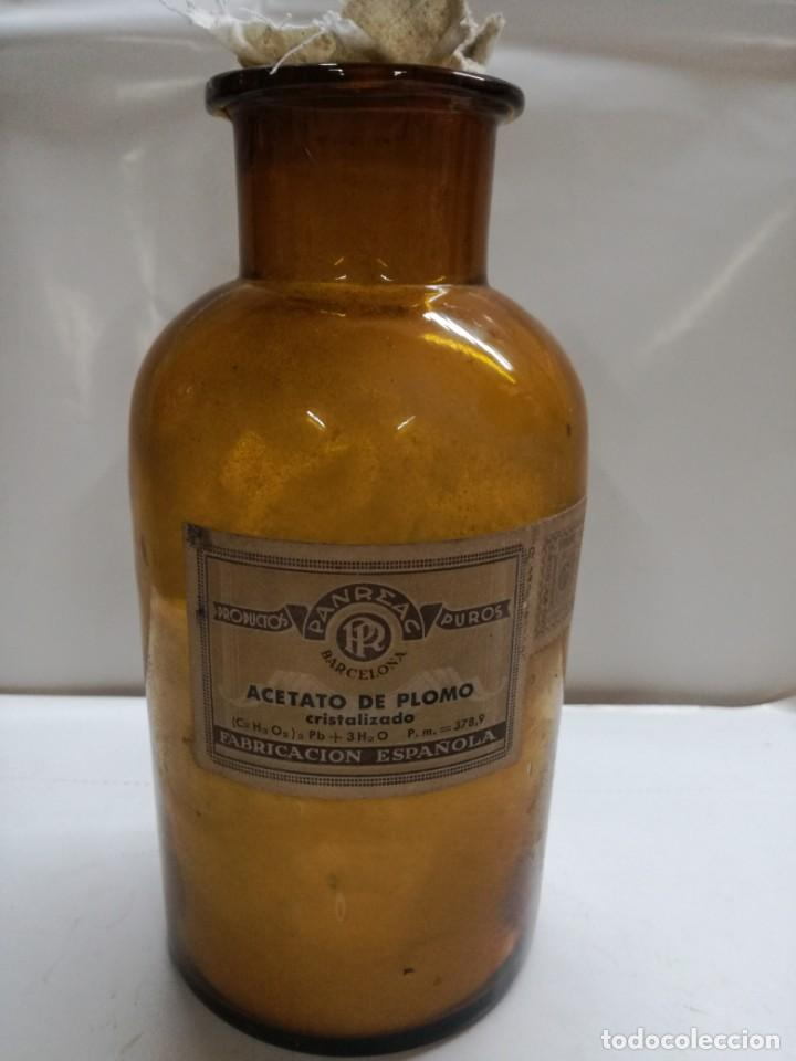 ANTIGUA BOTELLA FRASCO FARMACIA ACETATO DE PLOMO CRISTALIZADO.PANREAC BARCELONA.20 CM (Antigüedades - Cristal y Vidrio - Farmacia )