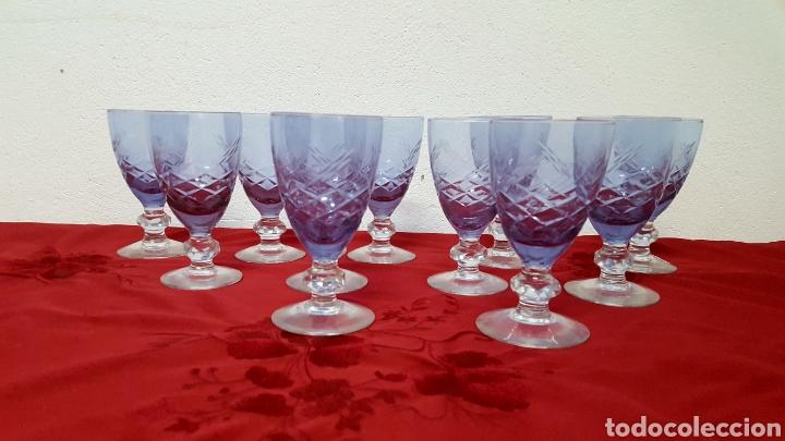 COPAS DE VINO CRISTAL TALLADO MORADO (Antigüedades - Cristal y Vidrio - Otros)