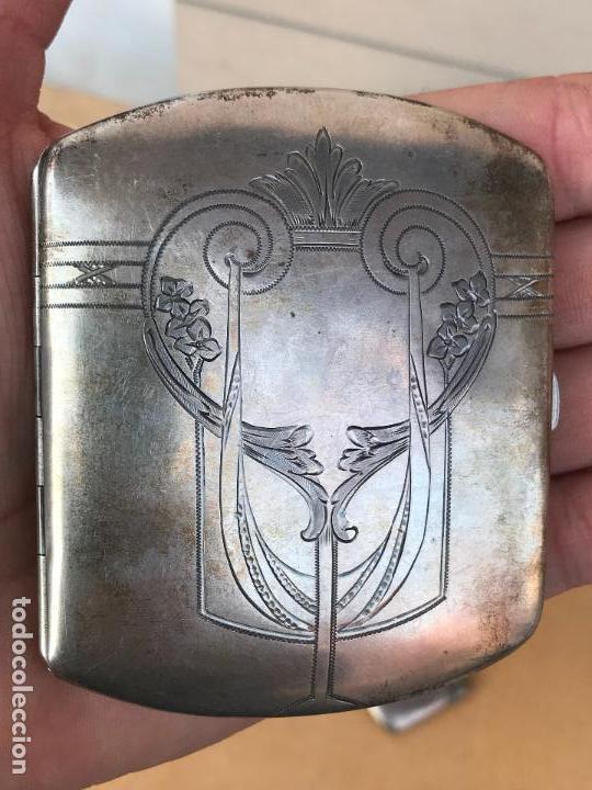 Antigüedades: Juego modernista de pitillera y cerillera de plata - Foto 5 - 158481214