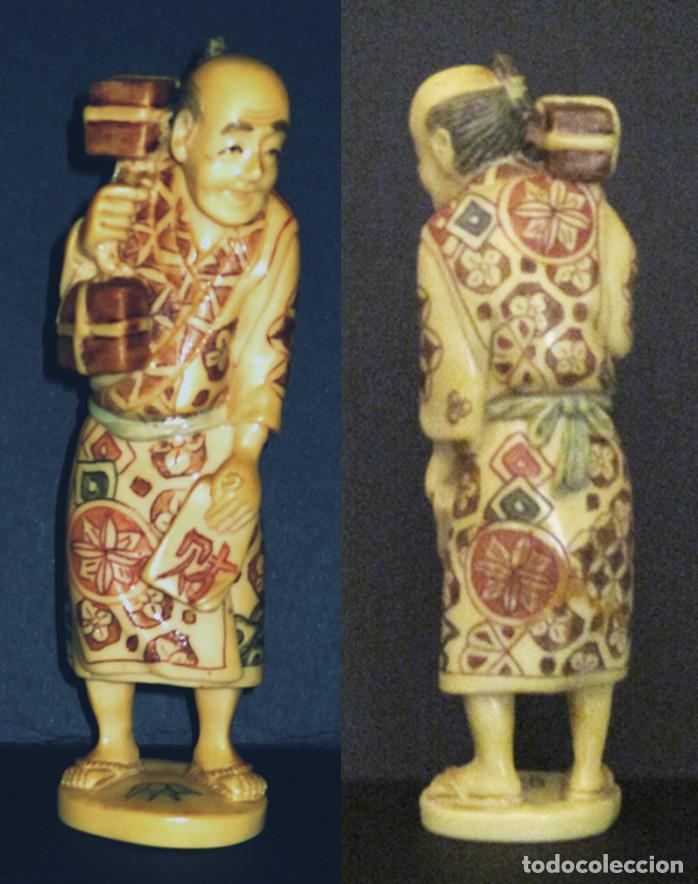 FIGURA ORIENTAL - MERCADER CHINO - CONTRAMARCA EN LA BASE (Antigüedades - Hogar y Decoración - Figuras Antiguas)