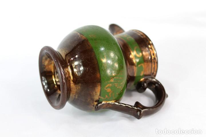 Antigüedades: Ref 12 Jarra de Bristol lustre Inglaterra s XIX Medidas 10 cm de altura 12 cm de pico a oreja - Foto 4 - 158516002
