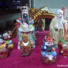 Antigüedades: JUEGO FIGURAS CHINAS POLICROMADAS 8 UNIDADES, BUEN ESTADO. Lote 158517682