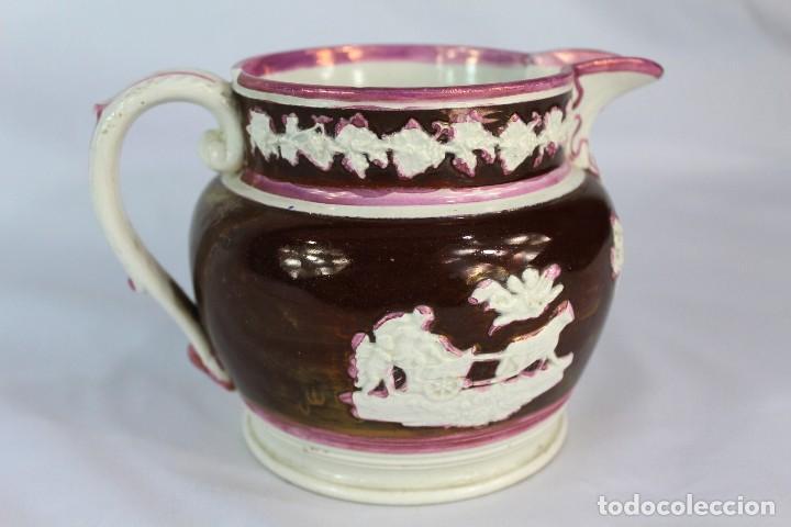 REF 44 JARRA DE BRISTOL REFLEJOS S XIX MIDE 10 CM DE ALTURA 17 CM DE PICO A OREJA (Antigüedades - Porcelanas y Cerámicas - Inglesa, Bristol y Otros)