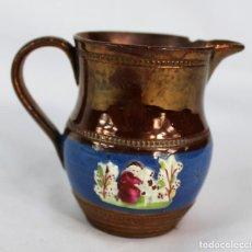 Antigüedades: REF 45 JARRA DE BRISTOL REFLEJOS S XIX MIDE 9 CM DE ALTURA 10 CM DE PICO A OREJA. Lote 158524646