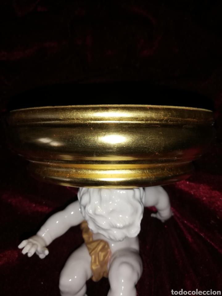 Antigüedades: Peana de oro fino original de la marca porcelana algora - Foto 3 - 158533437