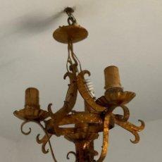 Antigüedades: LAMPARA FORJA TRES VELONES, HIERRO DORADO.. Lote 158538998