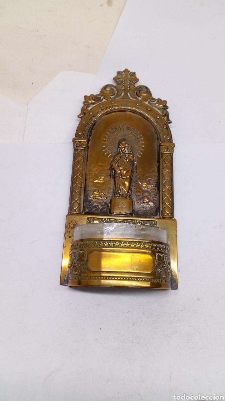 BENDITERA DE ALPACA ANTIGUA SIGLO XIX PARA COLGAR (Antigüedades - Religiosas - Benditeras)