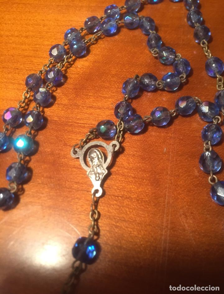 Antigüedades: Rosario Vaticano cuentas cristal Azules cara Virgen y Jesucristo - Foto 3 - 158545998